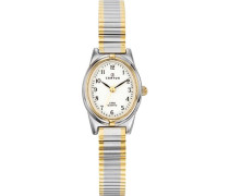 – 642385 Armbanduhr 045J699 Analog weiß Armband Metall Zweifarbig