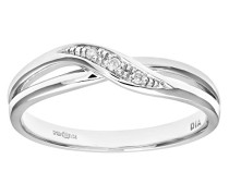Damen-Ring 9 K Weißgold P1 Diamant 0,02 ct