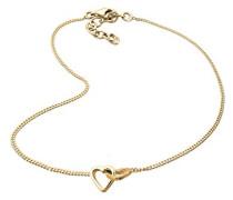Schmuck Fußschmuck Fußkettchen Herz Love Liebe Freundschaft Silber 925 Vergoldet Länge 25 cm