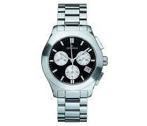 5096.9137 Quarz Schweizer Uhr mit schwarzem Zifferblatt Chronograph-Anzeige und Silber Edelstahl Armband