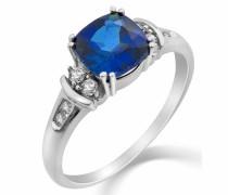 9 Karat (375) Weißgold Saphir Diamant Ring SA9030R