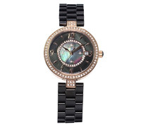 Armbanduhr - Analog Quarz - Premium Keramik Armband - Perlmutt Zifferblatt - Diamanten und Swarovski Elemente - STM15SM10