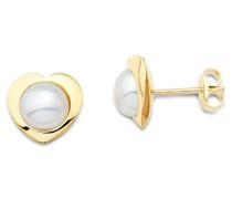Ohrstecker 9 Karat 375 Gelbgold Herz weiße Perlen MA9007E