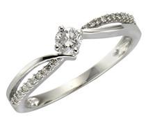 Diamonds by Ellen K. Ring 585 Weißgold rhodiniert Diamant (0.25 ct) Rundschliff weiß