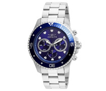 21788 Pro Diver Uhr Edelstahl Quarz blauen Zifferblat