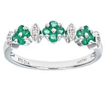 Damen-Ring 9 K Weißgold P1 Diamant Smaragd