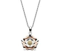 Halskette aus Sterlingsilber mit einem roségold-beschichtetem Anhänger mit Briar-Tudor-Rose Motiv und einer Länge 45,7 cm