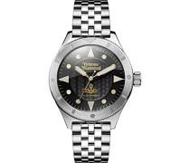 Analog Quarz Uhr mit Edelstahl Armband VV160BKSL