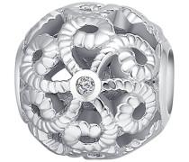 Bead 925 Silber rhodiniert Zirkonia Rundschliff weiß - 60177003