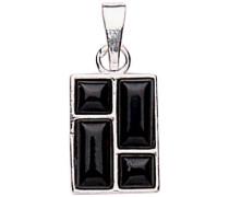 Halskette Sterling-Silber 925 Anhänger rechteckig mit zwei quadratischen und 2 rechteckigen Jet auf Steine, Länge der Kette 45