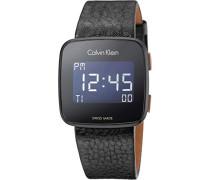 Herren Digital Uhr mit Leder Armband K5C11XC1