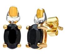 Ohrstecker 9 K Gelb und Weißgold ovale Saphir Ohrringe 375 Bicolor teilrhodiniert blau Ovalschliff PE01579YW SA