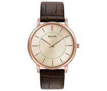 Ultra Slim 97A126 - Designer-Armbanduhr - Armband aus Leder - Braun/Roségoldfarben