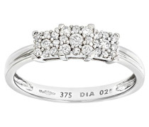 Damen-Ring 9 Karat 375 Weißgold Diamant 0,25 ct