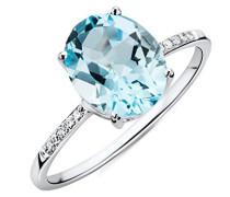 Ring Weißgold 9 Karat / 375 Gold Blauer Topas mit Diamant Brillianten