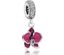 Charm Orchidee 925 Silber Emaille Zirkonia weiß - 791554EN69