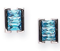 Ohrstecker Sterling-Silber 925 Blautopas Zirkonia rhodiniert