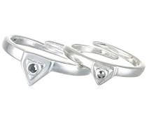 Ring Versilbert Kristall schwarz größenverstellbar - 121446104