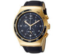 Chronograph Quarz Uhr mit Leder Armband YOG409