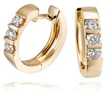 Gelb Gold 585 Memoire Creolen 6 Diamanten 0,40 ct.