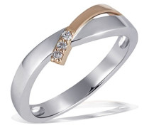 Ring Weissgold u. Rotgold 585 Bicolor 3 Diamanten SI/H 0