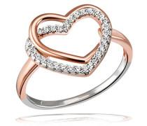 Damenring Herz Jahrestag 925 Sterlingsilber rotvergoldet 50 Zirkonia