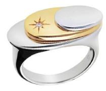 Ring 925 Sterling Silber Zweifarbig mit kleinem stern Zirkonia