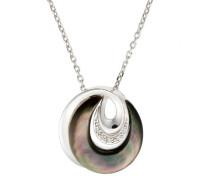 Halskette 925 Sterling Silber Perlmutt Zirkonia Silber