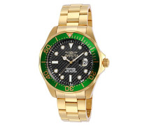 14358 Pro Diver Uhr Edelstahl Quarz schwarzen Zifferblat