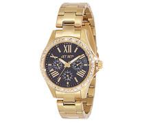 – j59828 – 222 – Like Armbanduhr – Quarz Analog – Zifferblatt schwarz Armband Stahl Gold