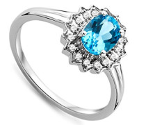 9 Karat Weißgold Blau Topas und Diamant SA9037R