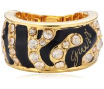 Ring Metalllegierung teilvergoldet Zirkonia Rundschliff transparent