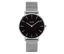 Armbanduhr Analog Quarz Edelstahl, silber/schwarz