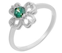 Ring 925 Silber rhodiniert Zirkonia grün Brillantschliff