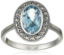 Ring 925 Silber vintage-oxidized Topas blau Markasit 56 (17.8) - L0092R/90/W4/56