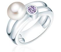 Ring 925 Silber rhodiniert Zirkonia lila Perle Süßwasser-Zuchtperle Weiß