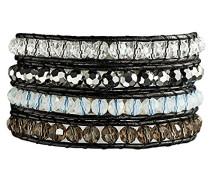 Armband Leather Collection Leder schwarz Glaskristall mehrfarbig