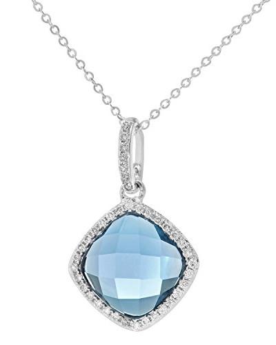 Halskette Weißgold 9 Karat Diamanten 2.65 ct Topas 46 cm Ovalschliff