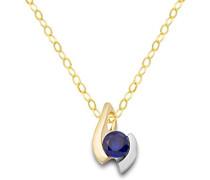 Halskette 9 Karat (375) Gelb-/Weißgold Saphir Blau Anhänger 45cm