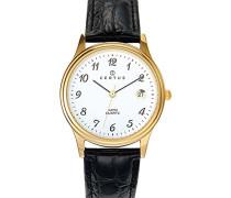 – 612216 – Armbanduhr – Quarz Analog – Weißes Ziffernblatt – Armband Leder Schwarz