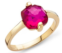 Ring 9 Karat ( 375 ) Gelbgold Granat Stein 3.0 ct. Quarz rot Quadratschliff