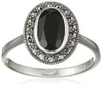 Ring 925 Silber vintage-oxidized Spinell schwarz Markasit 58 (18.5) - L0092R/90/Z2/58