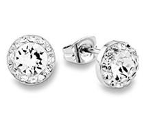 Ohrstecker basic rund rhodiniert veredelt mit Swarovski Kristallen 7 mm