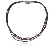 Damen-Collier Leder, 5 Perlen Kupfer 0838-02