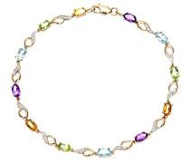 Armband Gelbgold 9 K Multi-Edelstein und Diamant Topas Amethyst Lila Ovalschliff 1