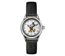 Disney Women's Union Quartz Watch with Weiß Dial andSchwarz Leather Strap ID00902