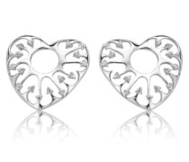 -Ohrstecker Skeleton Heart 925 SterlingSilber mit Zirkonia