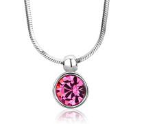 Kette - Halskette Kette Silberfarbig 925 Sterling Silber Rose Zirkonia Steinchen 42 cm