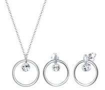 Schmuckset Kreis Geo 925 Sterling Silber Swarovski Kristalle 0911940717_45