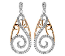 Ohrhänger Silber vergoldet teilrhodiniert Zirkonia weiß ZO-5180